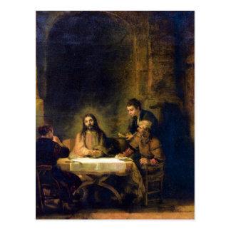 Christus i Emmaus av Rembrandt Vykort