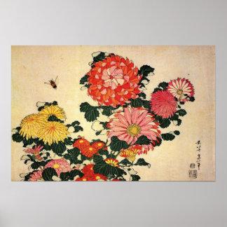 Chrysanthemum och bi poster