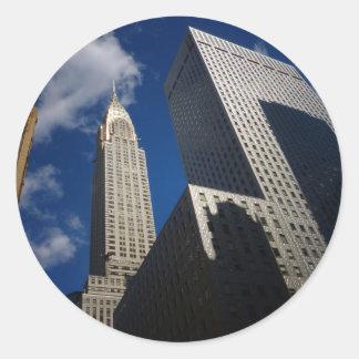Chrysler byggnad och Socony Mobil som bygger, NYC Runt Klistermärke