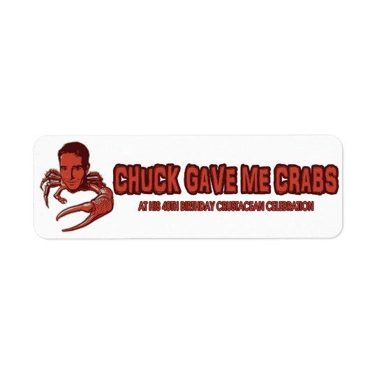 Chucken gav mig krabbaetiketten returadress etikett