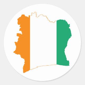 CI för karta för Cote d'Ivoireflagga Runt Klistermärke