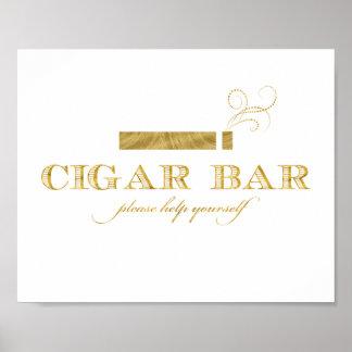Cigarrpuben undertecknar - Fauxguld omkullkastar Poster