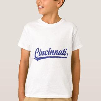 Cincinnati skrivar logotypen i blått tshirts