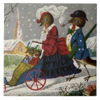 Circa 1870: Den Robin familjen tar en promenad Kakelplatta