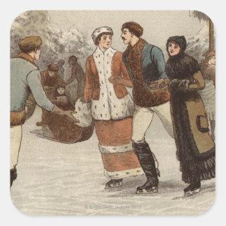 Circa 1899: Is-skater som tycker om jul Fyrkantigt Klistermärke