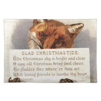 Circa 1900: En räv rymmer en julverse Bordstablett