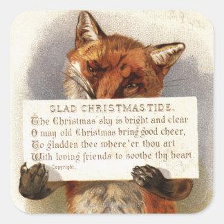 Circa 1900: En räv rymmer en julverse Fyrkantigt Klistermärke