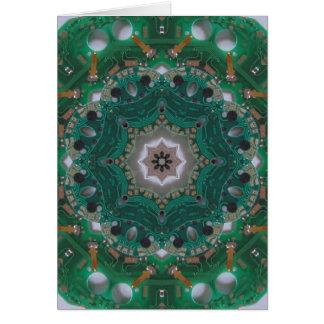 Circuitboard Mandala Hälsningskort