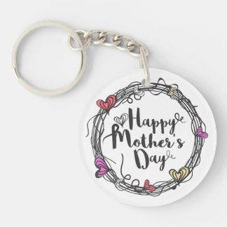 Cirkla med den lyckliga mors dag Keychain för