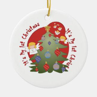 Cirkla prydnaden som det är min 1st jul julgransprydnad keramik