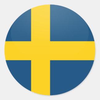 Cirklar den kvalitets- flagga för sverige runt klistermärke