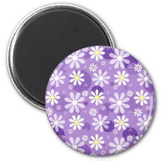Cirklar purpurfärgad Gingham för Retro daisy Magnet