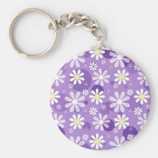 Cirklar purpurfärgad Gingham för Retro daisy Rund Nyckelring