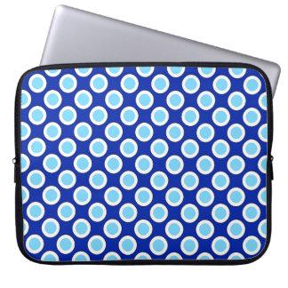 Cirklat Retro pricker, koboltblått och vit Datorskydds Fodral