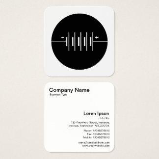 Cirklat svartvitt batterisymbol - fyrkantigt visitkort