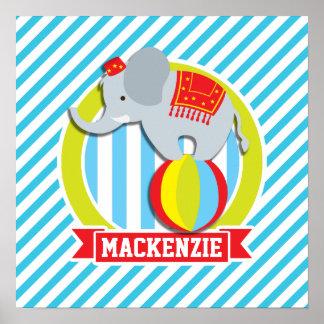 Cirkuselefant på boll; Baby blue & vitrandar Posters