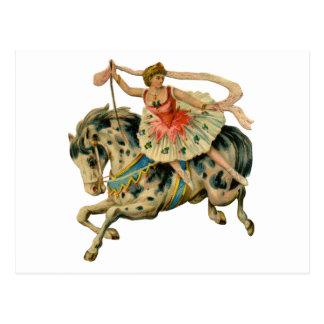 Cirkushäst och dansare vykort