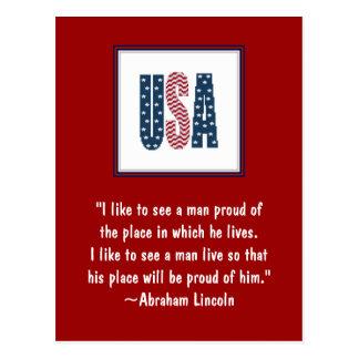 Citationstecken för Abraham Lincoln Vykort