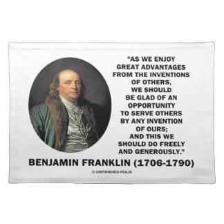 Citationstecken för Benjamin Franklin underbart Bordstablett