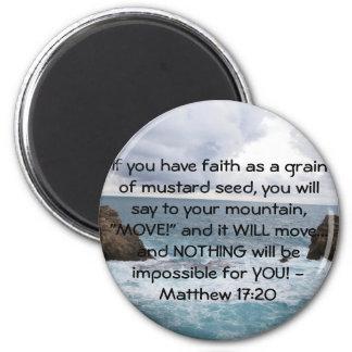 Citationstecken för bibel för Matthew 17:20 Motiva Magnet Rund 5.7 Cm
