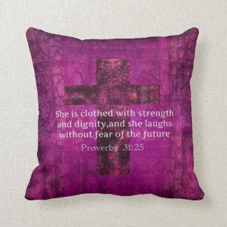 Citationstecken för bibel för Proverbs31:25 Kudde