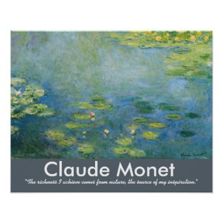Citationstecken för Claude Monet näckroskonstnär Poster