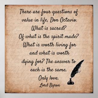Citationstecken för Lord Byron ** tryck för konst