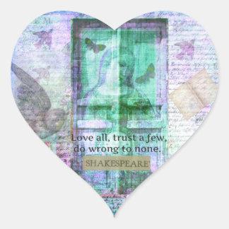 Citationstecken för Shakespeare kärlekFÖRTROENDE Hjärtformat Klistermärke