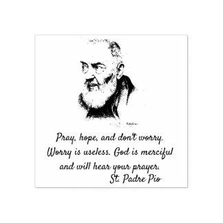 Citationstecken för St. Padre Pio om bekymmer Stämpel