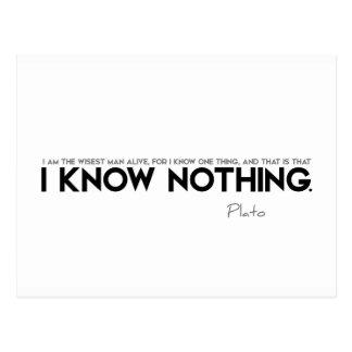 CITATIONSTECKEN: Plato: Jag vet ingenting Vykort