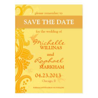 Citron - gul fågelbröllop spara datum vykort
