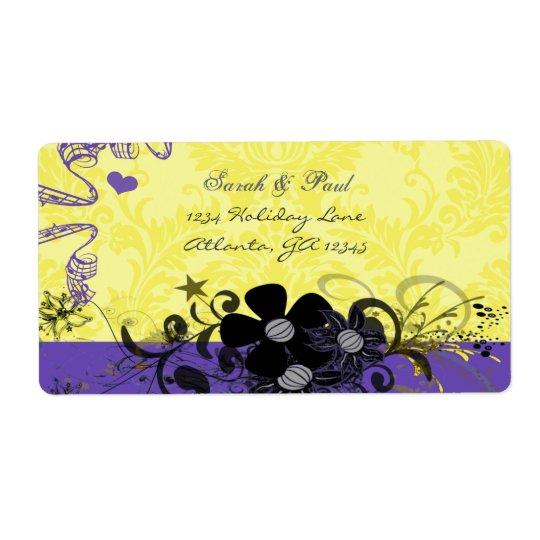 Citron - gult- & Violetblomman virvlar runt Fraktsedel