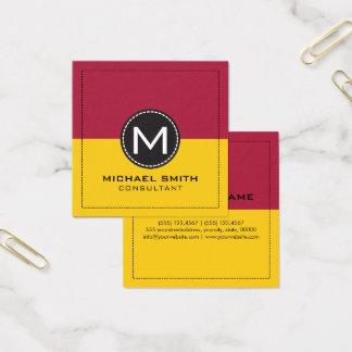 Citron och Carmine för Monogram elegant modern Fyrkantigt Visitkort