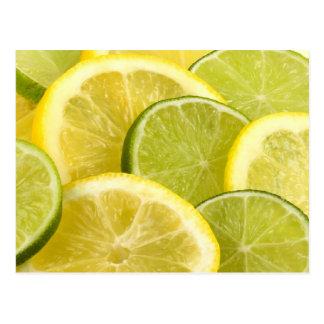 Citron- och limefruktskivor vykort