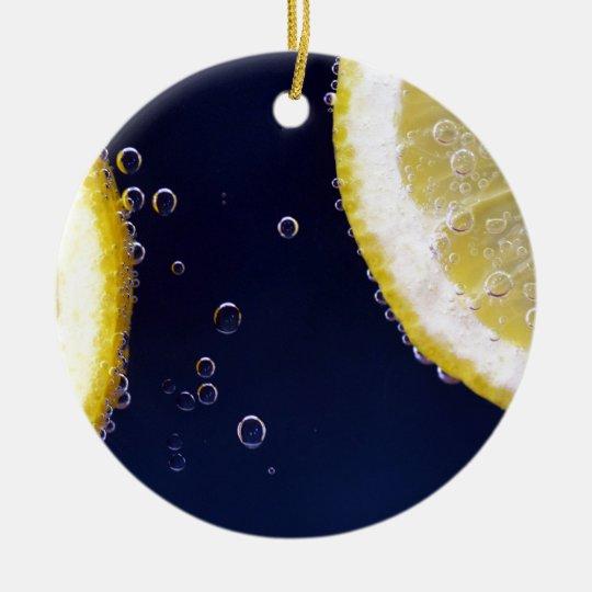 Citron Rund Julgransprydnad I Keramik