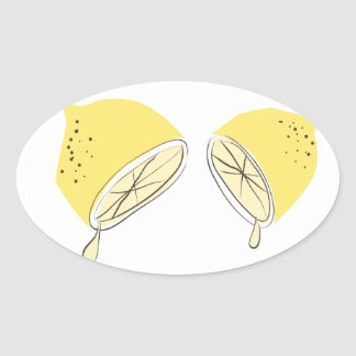 Citronen halverar ovala klistermärkear ovalt klistermärke