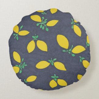 Citronen tappar matkonstmönster rund kudde