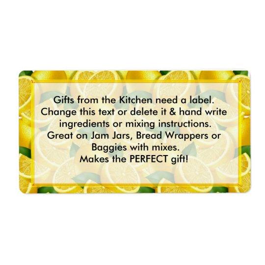 Citronetikettgåvor från kökbehovsetiketterna fraktsedel