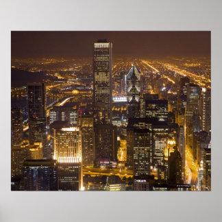 Cityscape av i stadens centrum Chicago Poster