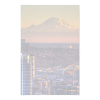 Cityscape beskådar av Seattle i city, fotboll Brevpapper