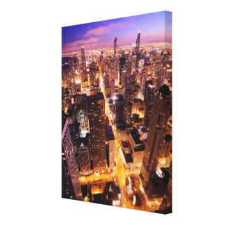 Cityscape på natten av Chicago Canvastryck