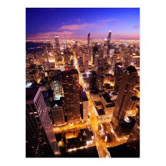 Cityscape på natten av Chicago Vykort