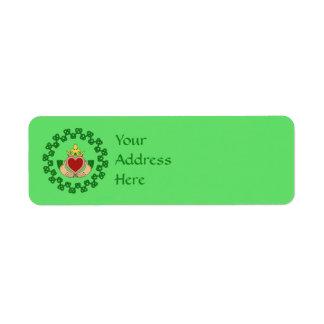 Claddagh och grönt Knotwork Returadress Etikett