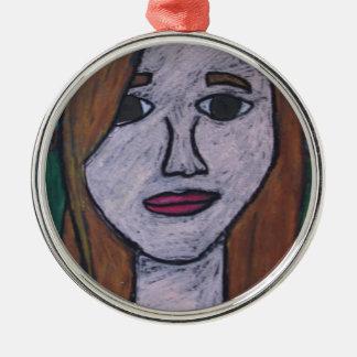 Claire självporträtt rund silverfärgad julgransprydnad