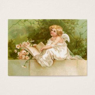 Clapsaddle: Ängel med boken och blommor
