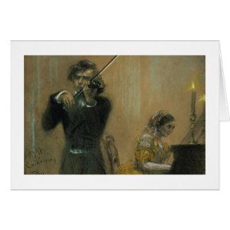 Clara Schumann (1819-96) och en violinist, 1854 Hälsningskort