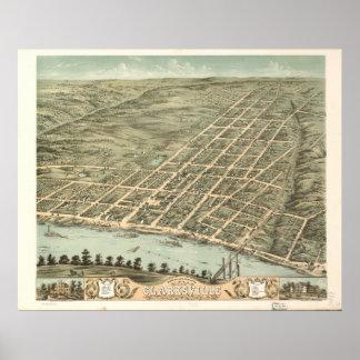 Clarksville Tennessee 1870 antika panorama- karta Poster