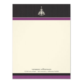 Classy Chandelier Custom Flat Note Cards (purple) Custom Invite