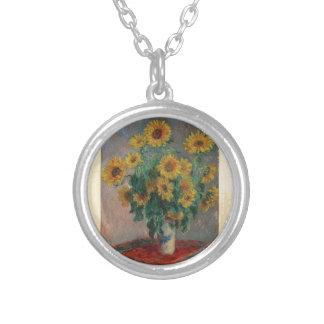 Claude Monet: Bukett av solrosvintagekonst Silverpläterat Halsband