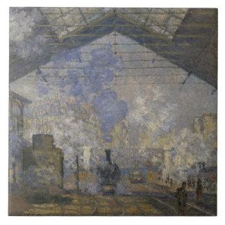 Claude Monet - den Sanktt-Lazare stationen Kakelplatta
